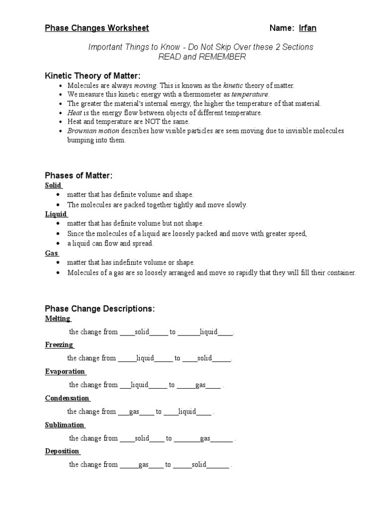 Phase Change Worksheet Answers Phase Changes Worksheet Phase Matter
