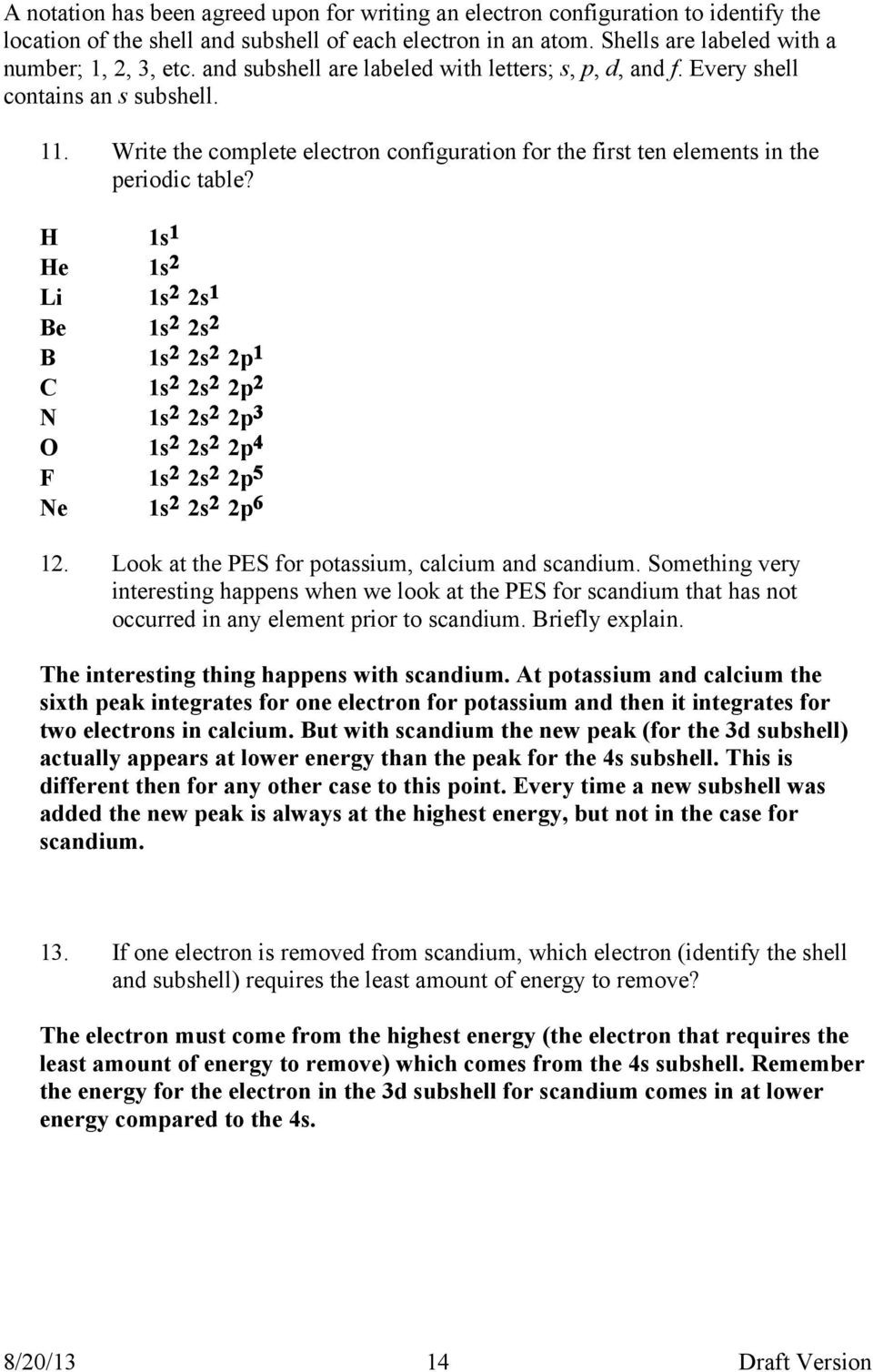 Photoelectron Spectroscopy Worksheet Answers Question Do All Electrons In the Same Level Have the Same