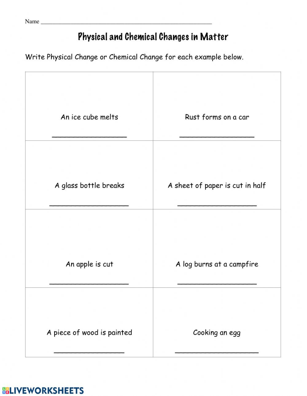 Physical and Chemical Change Worksheet Physical and Chemical Changes Interactive Worksheet