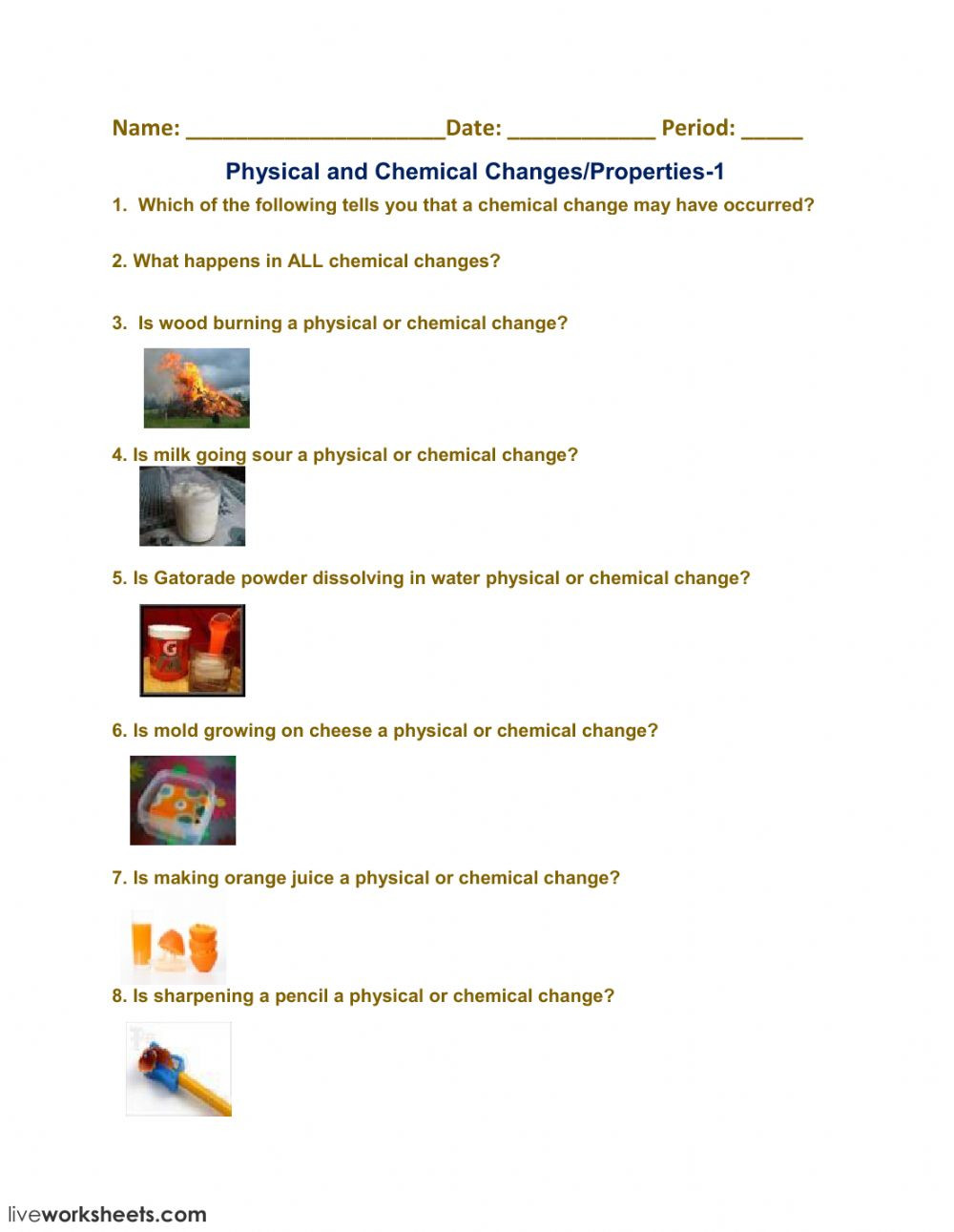 Physical and Chemical Change Worksheet Physical and Chemical Changes Properties 1 Interactive