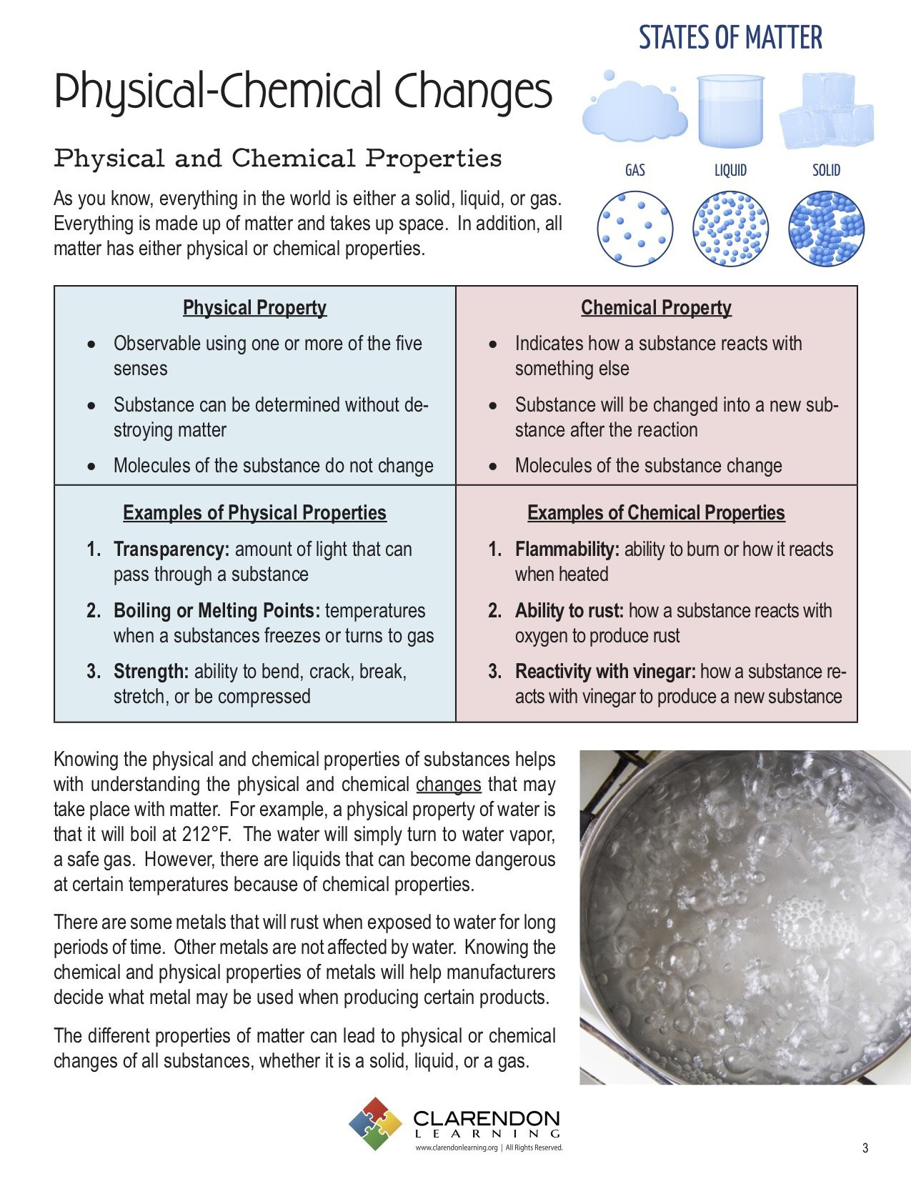 Physical and Chemical Properties Worksheet Physical Chemical Changes