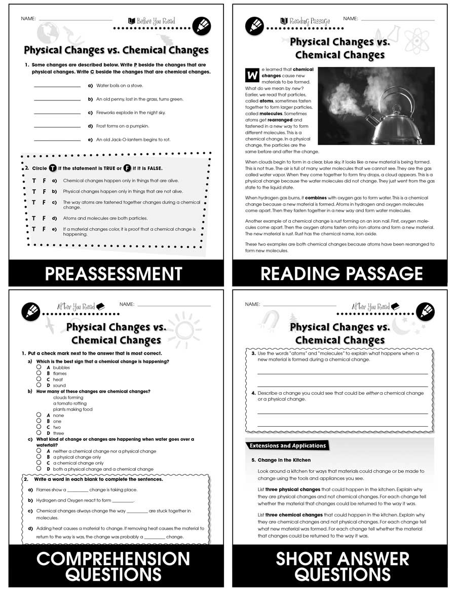 Physical Vs Chemical Changes Worksheet Properties Of Matter Physical Changes Vs Chemical Changes