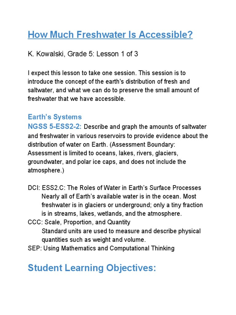 Planet Earth Freshwater Worksheet How Much Freshwater is Accessible K Kowalski Grade 5