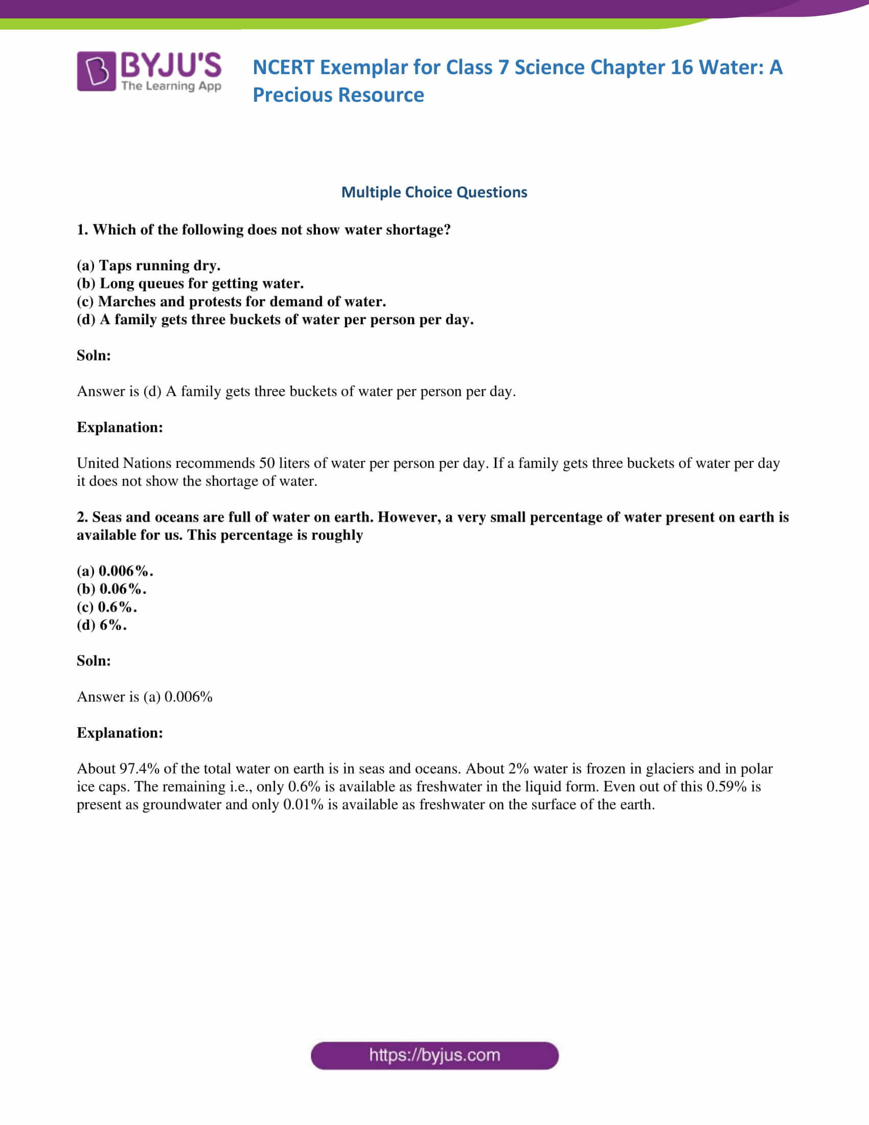 Planet Earth Freshwater Worksheet Ncert Exemplar solutions for Class 7 Science Chapter 16
