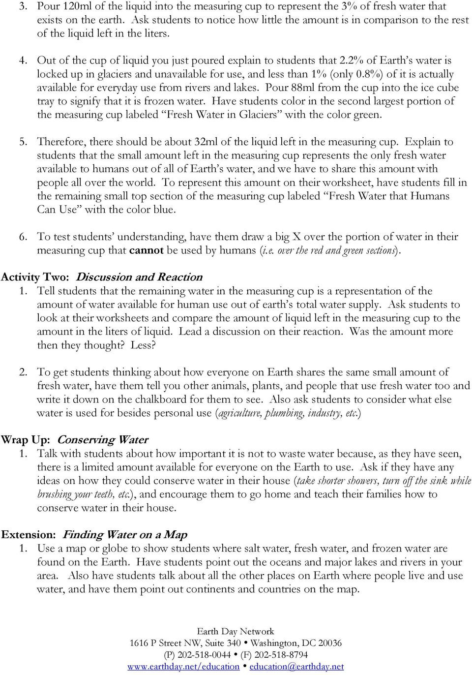 Planet Earth Freshwater Worksheet Water Scarcity ashley Schopieray Pdf Free Download