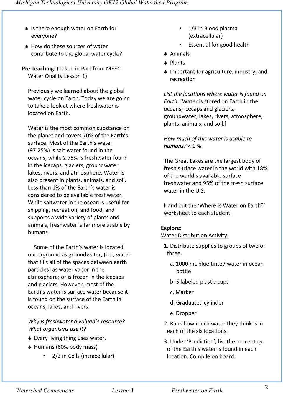 Planet Earth Freshwater Worksheet where is All the Freshwater On Earth Pdf Free Download