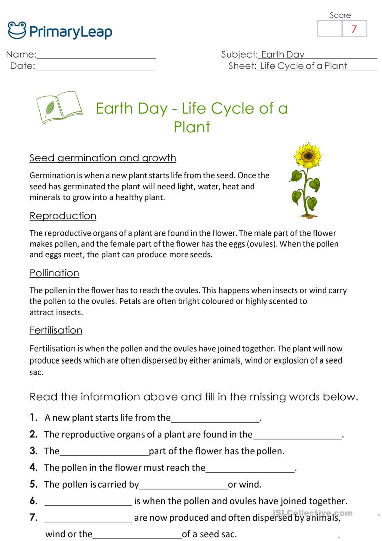 Plant Reproduction Worksheet Answers Earth Day Life Cycle Of A Plant English Esl Worksheets