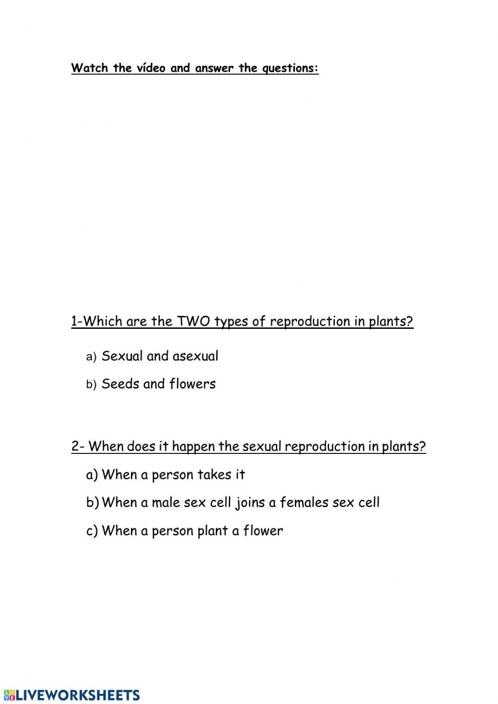 Plant Reproduction Worksheet Answers Plants Reproduction Interactive Worksheet