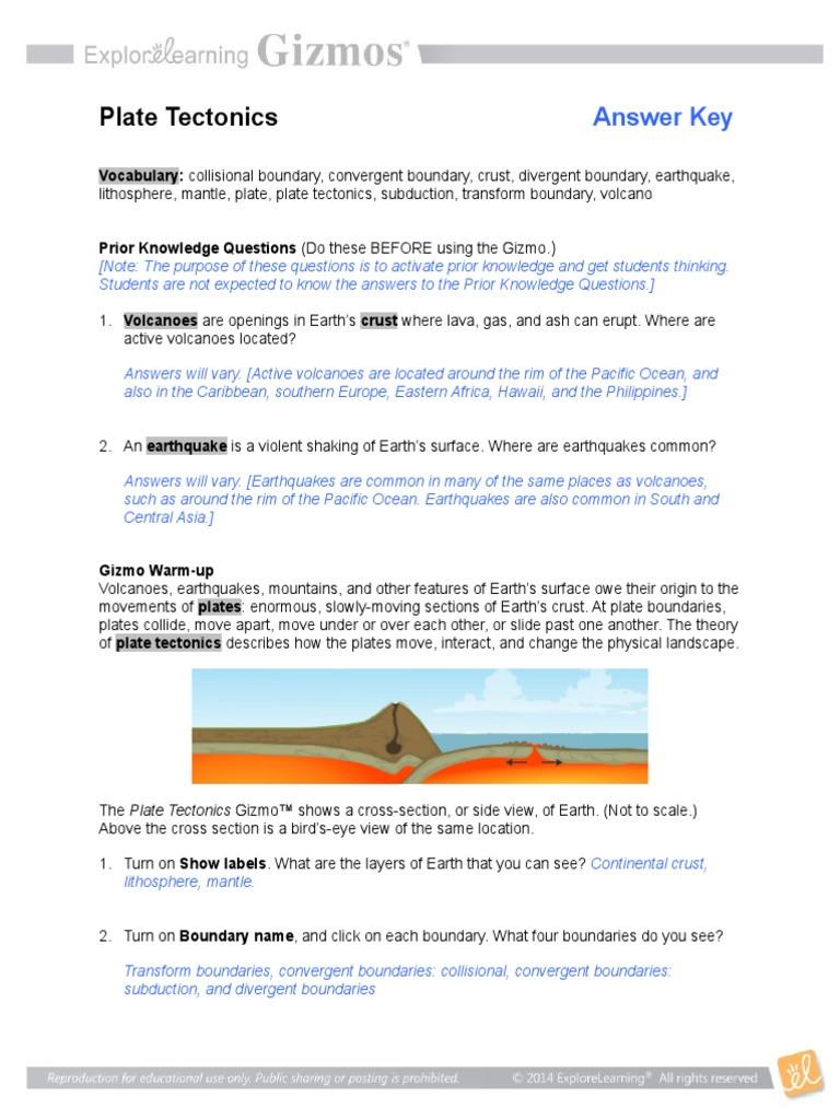 Plate Tectonic Worksheet Answers 2 Platetectonicsse Gizmo Keyc Plate Tectonics