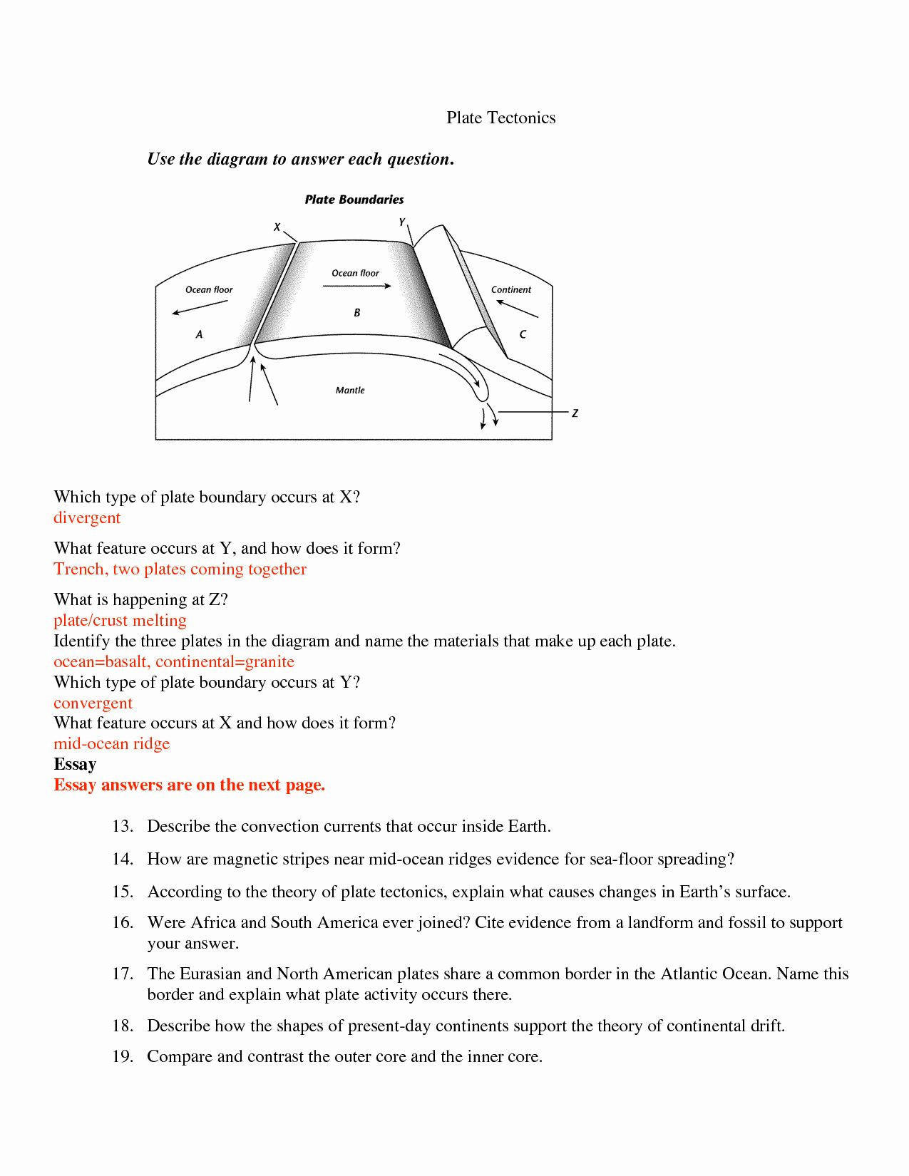 Plate Tectonic Worksheet Answers 50 Plate Tectonics Worksheet Answers In 2020