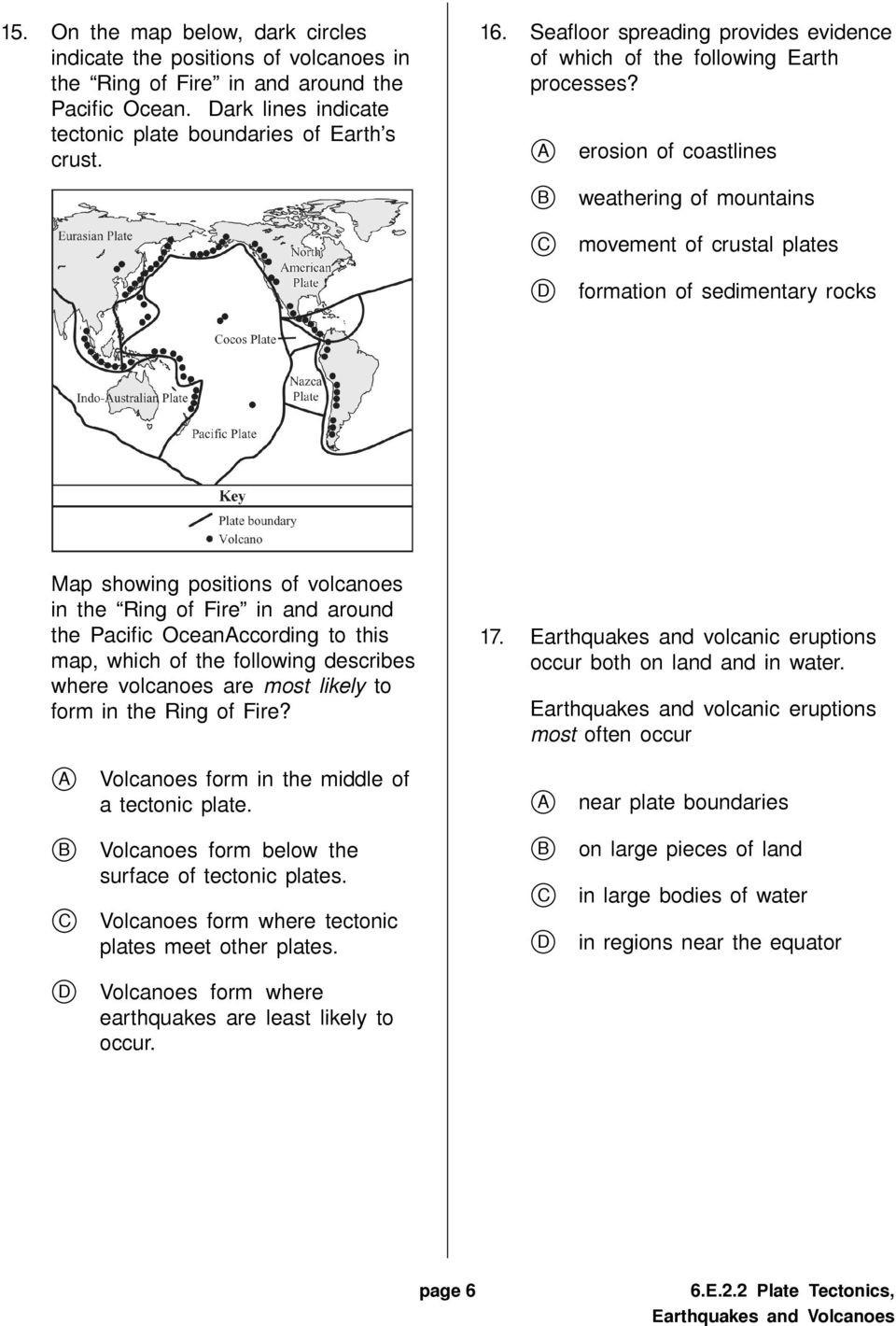 Plate Tectonic Worksheet Answers 6 E 2 2 Plate Tectonics Earthquakes and Volcanoes Pdf