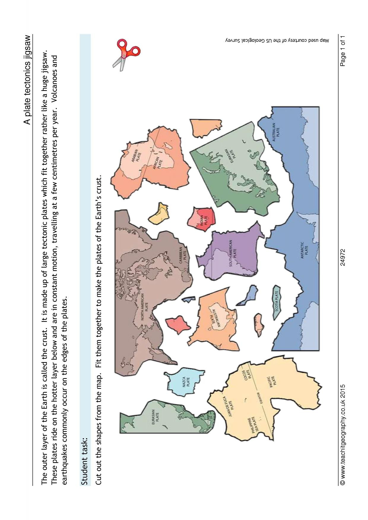 Plate Tectonic Worksheet Answers A Plate Tectonics Jigsaw