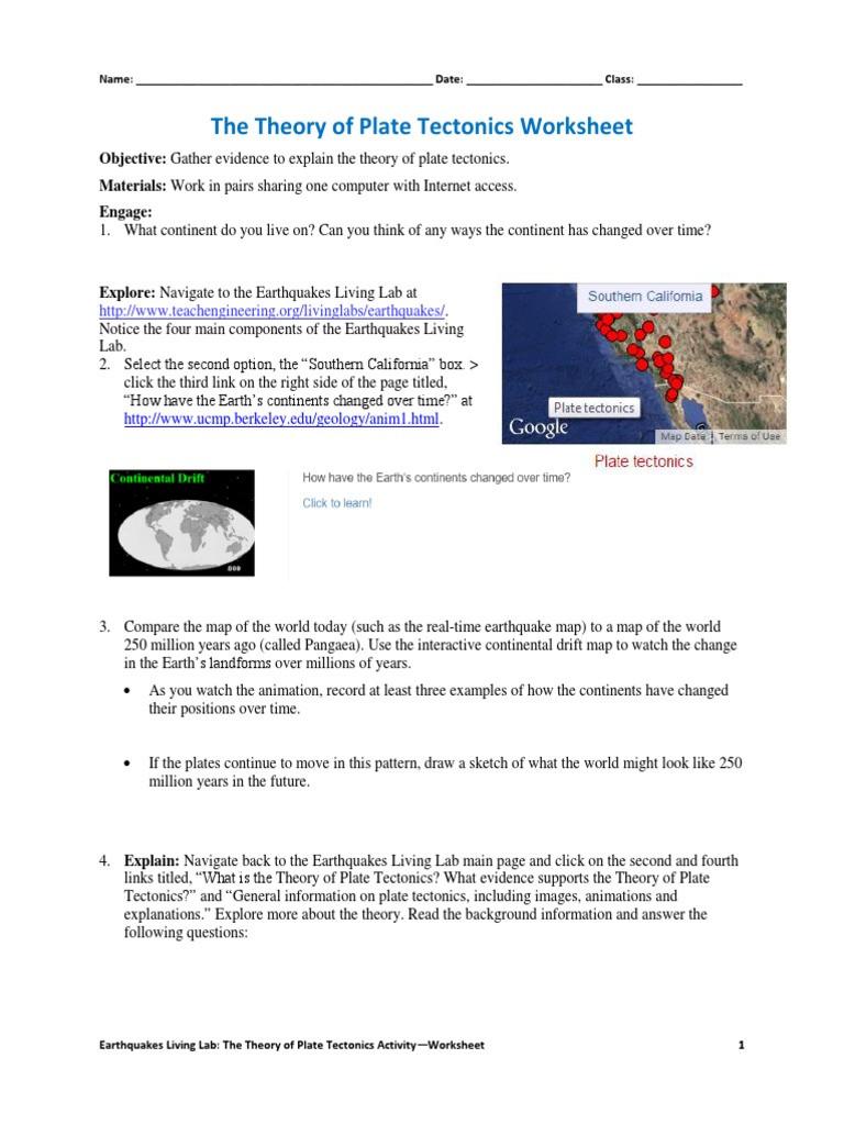 Plate Tectonic Worksheet Answers Csm Platetectonics Activity1 Worksheet V3 Tedl Dwc