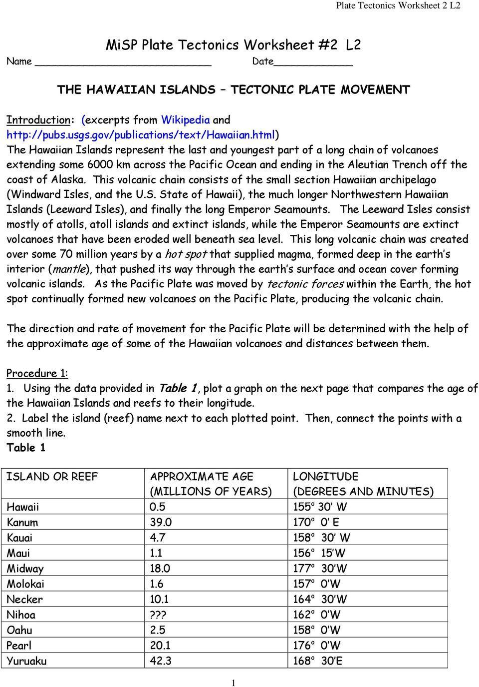 Plate Tectonic Worksheet Answers Misp Plate Tectonics Worksheet 2 L2 Pdf Free Download
