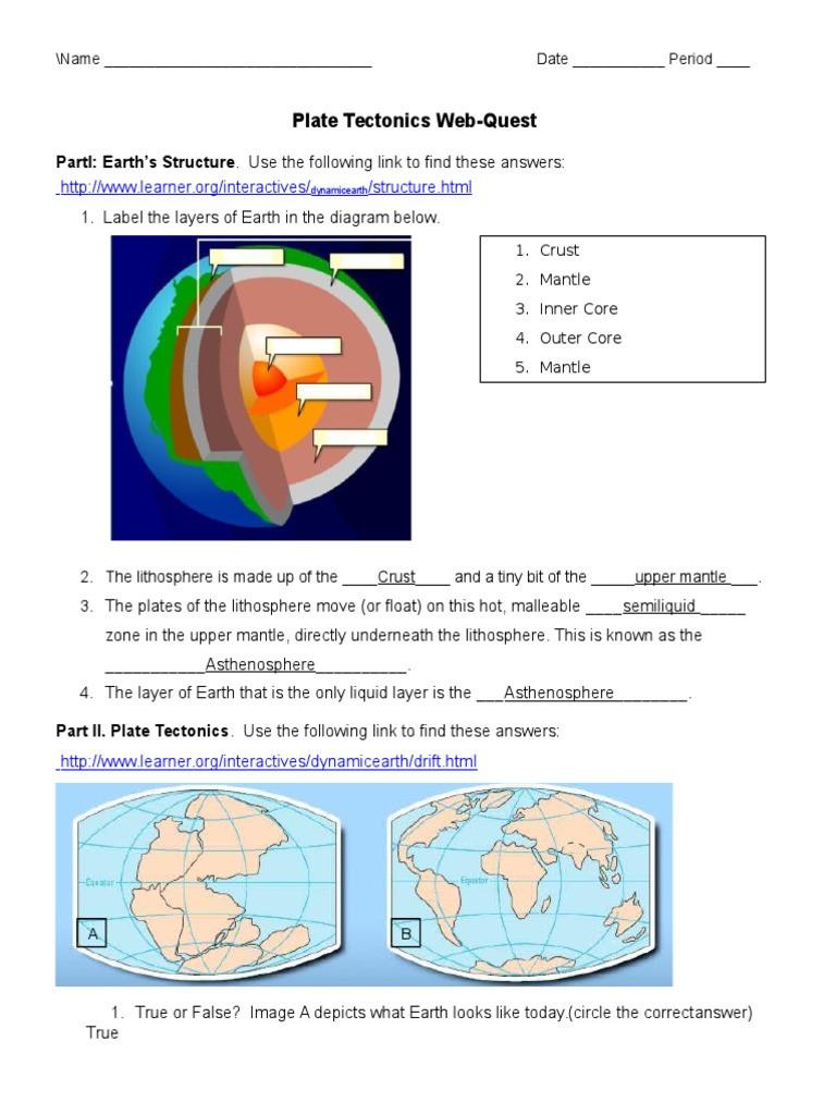 Plate Tectonic Worksheet Answers Plate Tectonics Web Quest Student Plate Tectonics