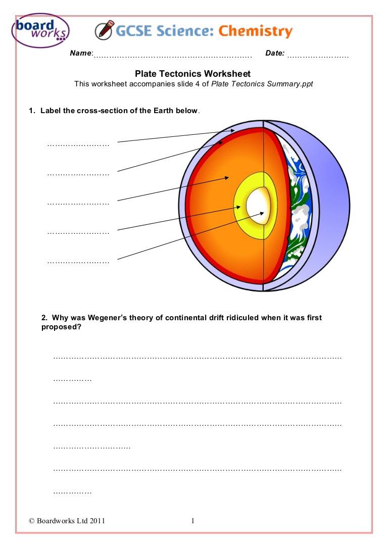 Plate Tectonic Worksheet Answers Plate Tectonics Worksheet