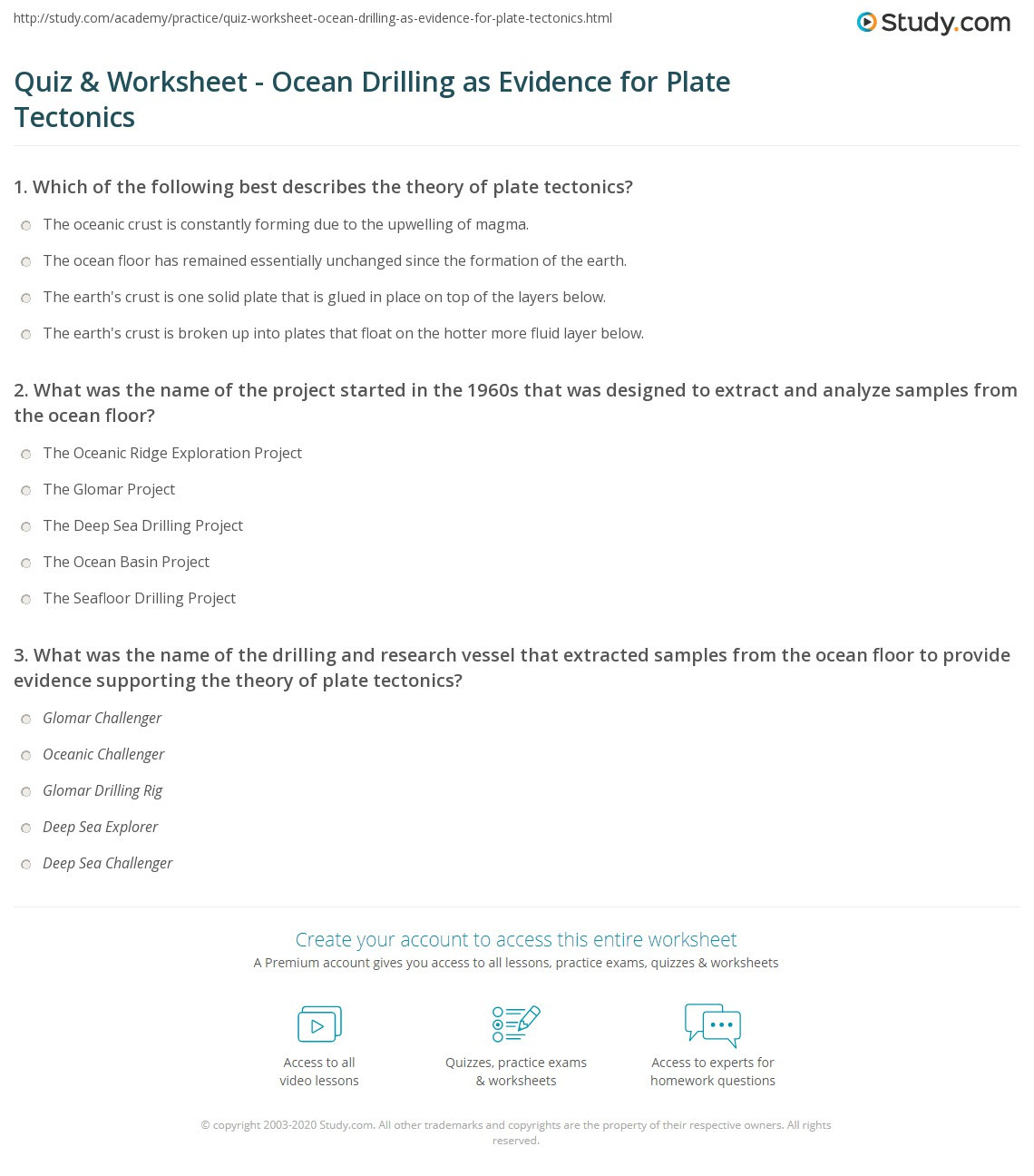 Plate Tectonic Worksheet Answers Quiz & Worksheet Ocean Drilling as Evidence for Plate