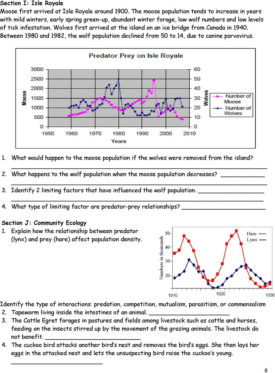 Population Ecology Graph Worksheet Deer and Wolf Population Worksheet Answers