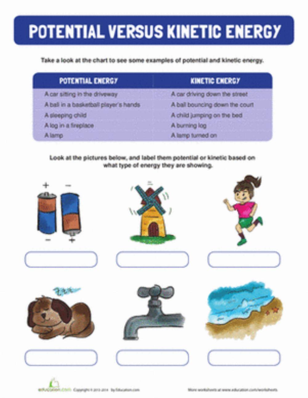 Potential Versus Kinetic Energy Worksheet Energy Interactive Worksheet