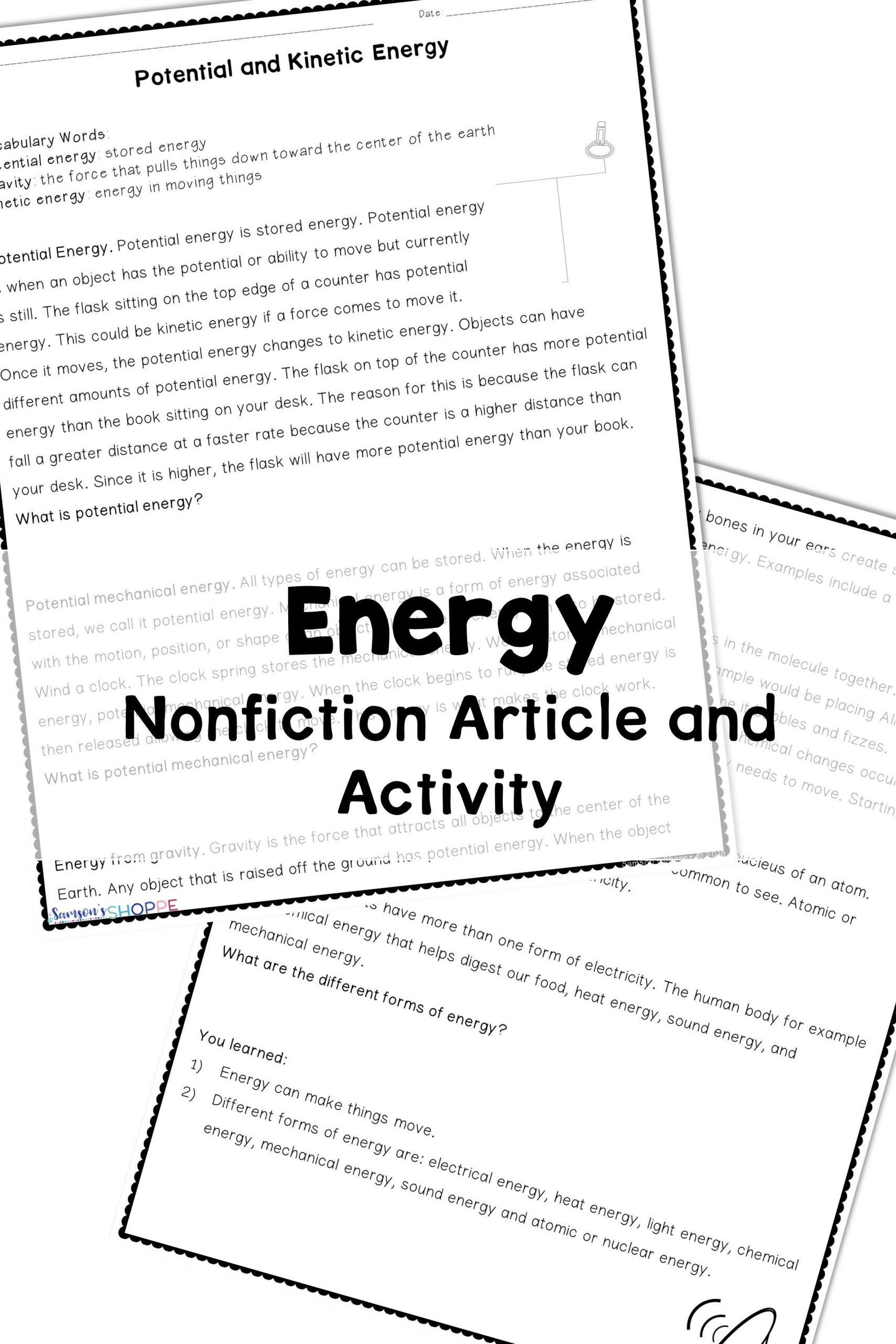 Potential Versus Kinetic Energy Worksheet Energy