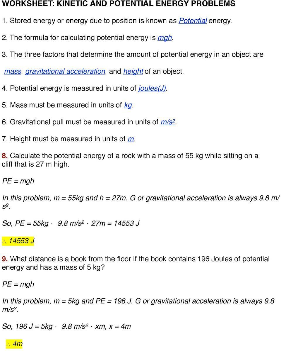 Potential Versus Kinetic Energy Worksheet Worksheet Kinetic and Potential Energy Problems Pdf Free