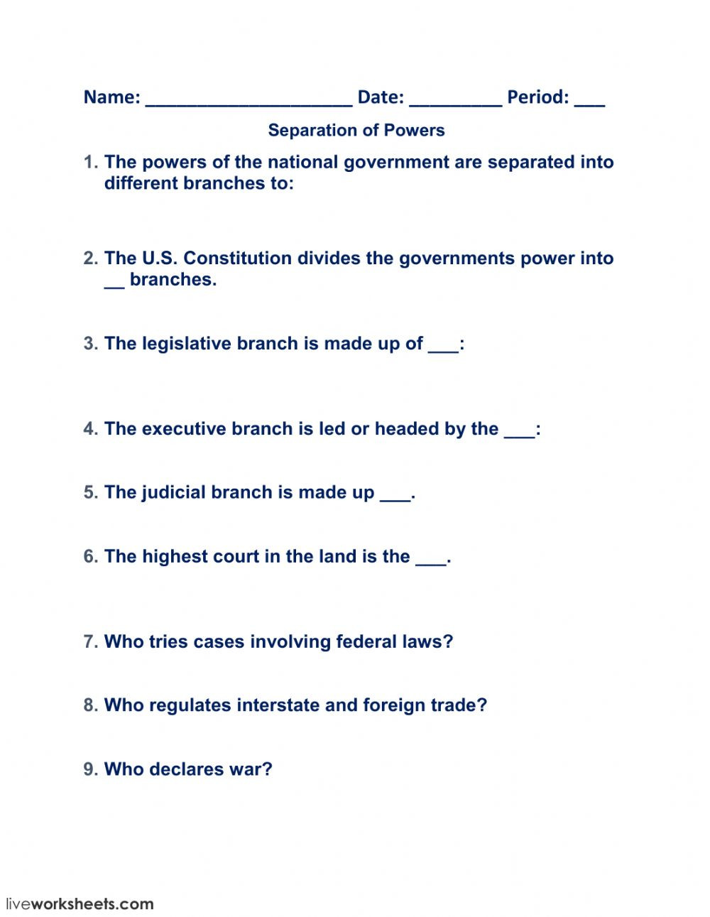 Powers Of Congress Worksheet Separation Of Powers Interactive Worksheet