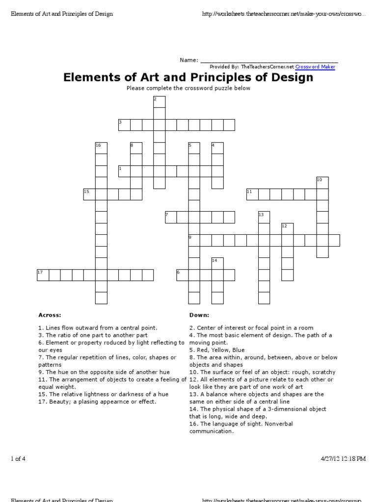 Principles Of Design Worksheet Elements Of Design Activity Color