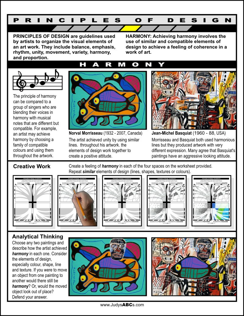 Principles Of Design Worksheet Principles Of Design Harmony Judy S Abc S