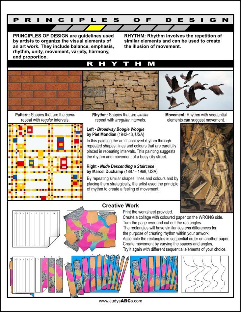Principles Of Design Worksheet Principles Of Design Rhythm Judy S Abc S