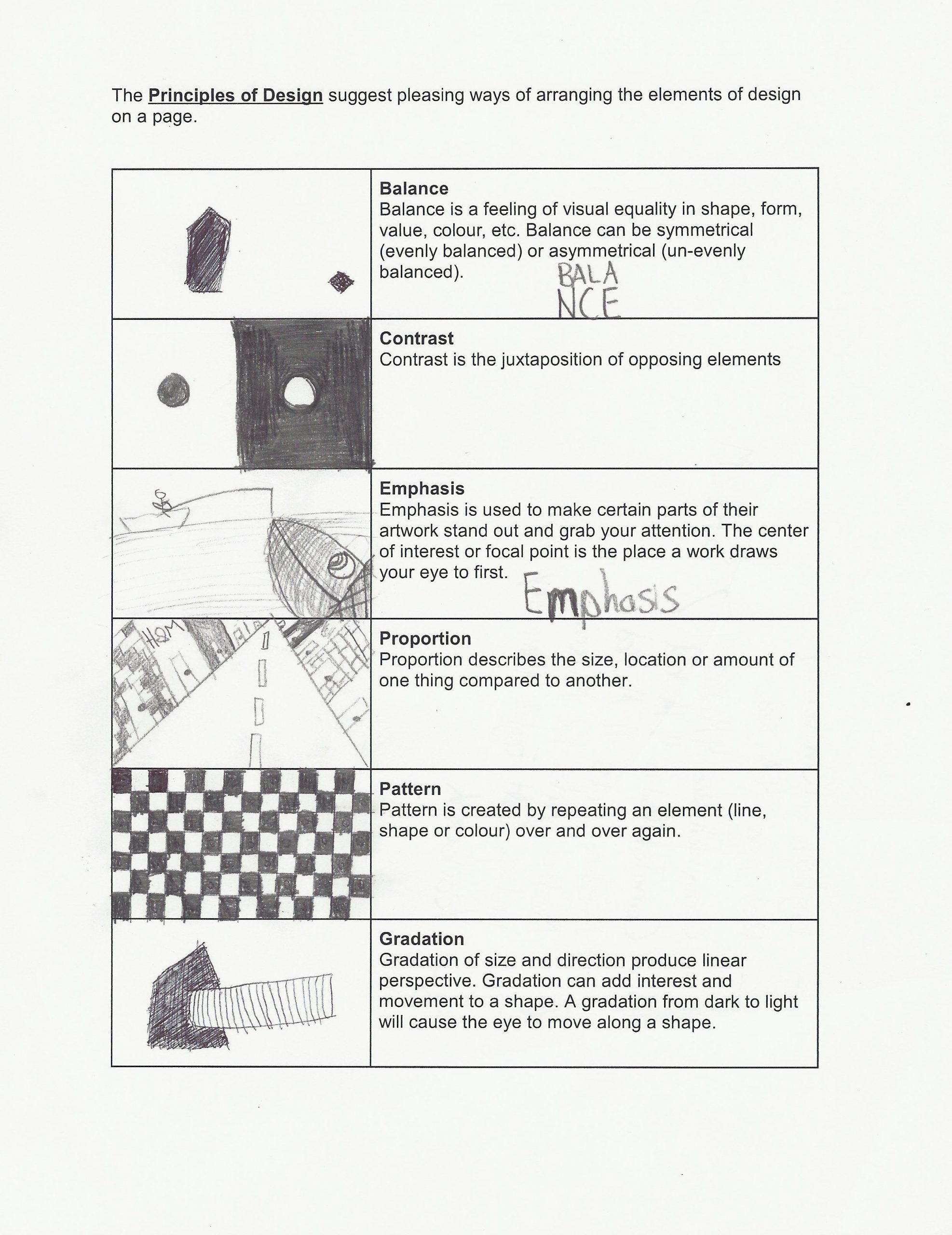 Principles Of Design Worksheet Principles Of Design Worksheet