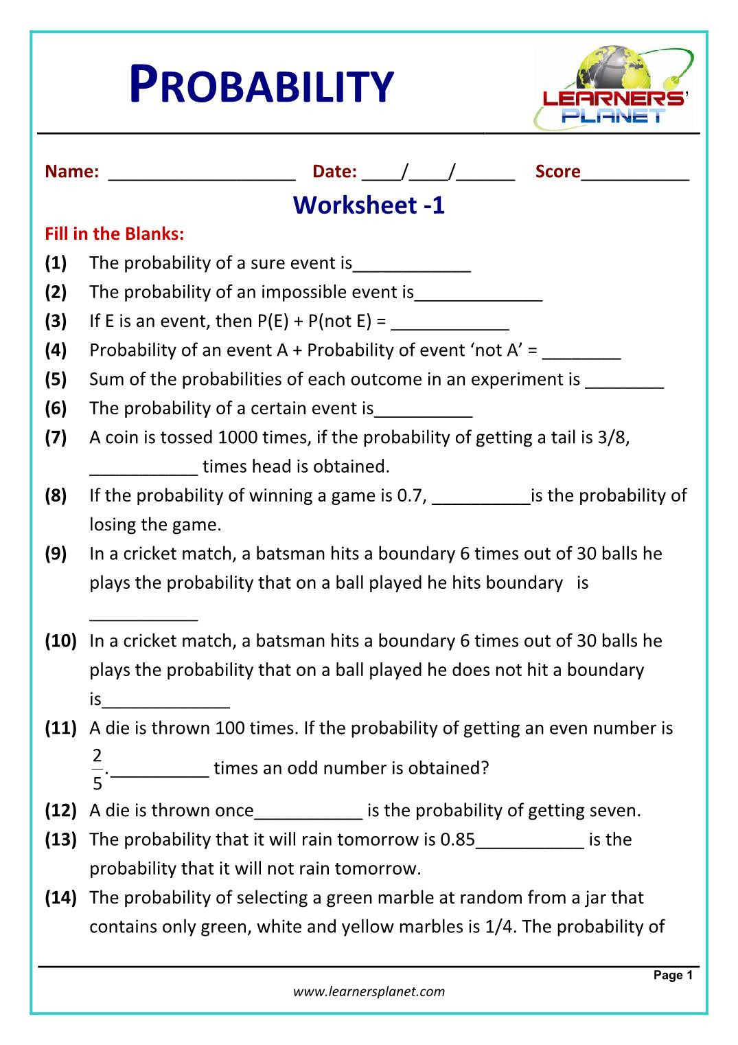 Probability Worksheet High School Division Games for 2nd Grade Physics Measurements and Units