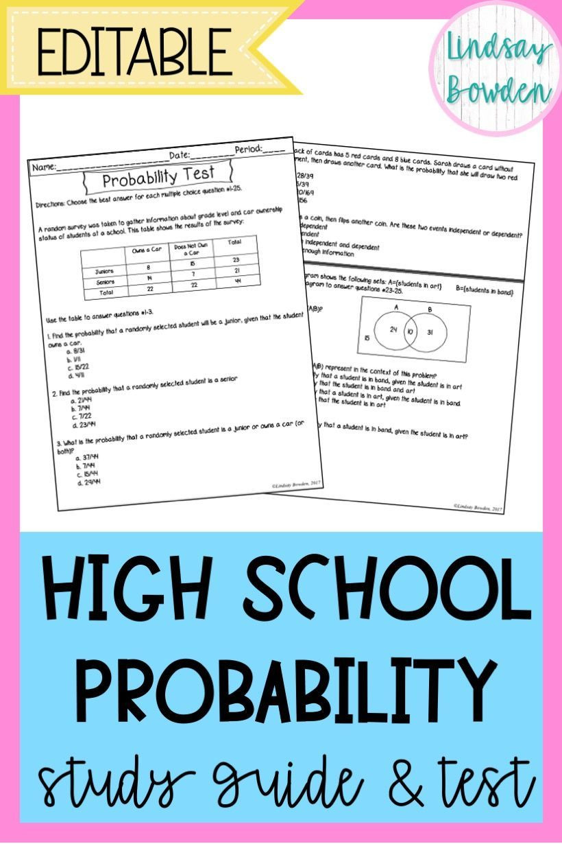 Probability Worksheet High School Probability Test with Study Guide