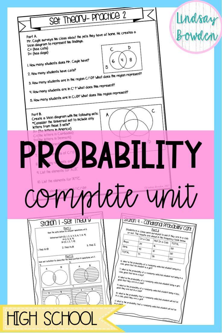 Probability Worksheet High School Probability Unit Bundle