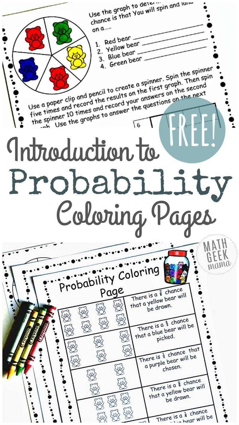 Probability Worksheet High School Simple Coloring Probability Worksheets for Grades 4 6 Free