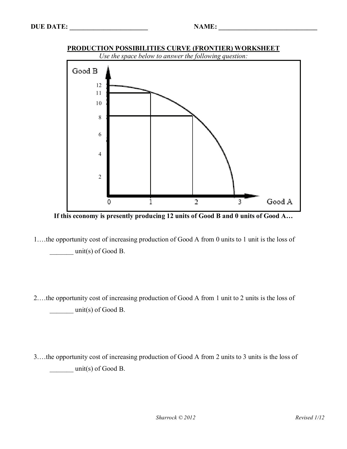 Production Possibilities Curve Worksheet Answers Copy Of Ppc Worksheet You Do Pages 1 3 Text Version