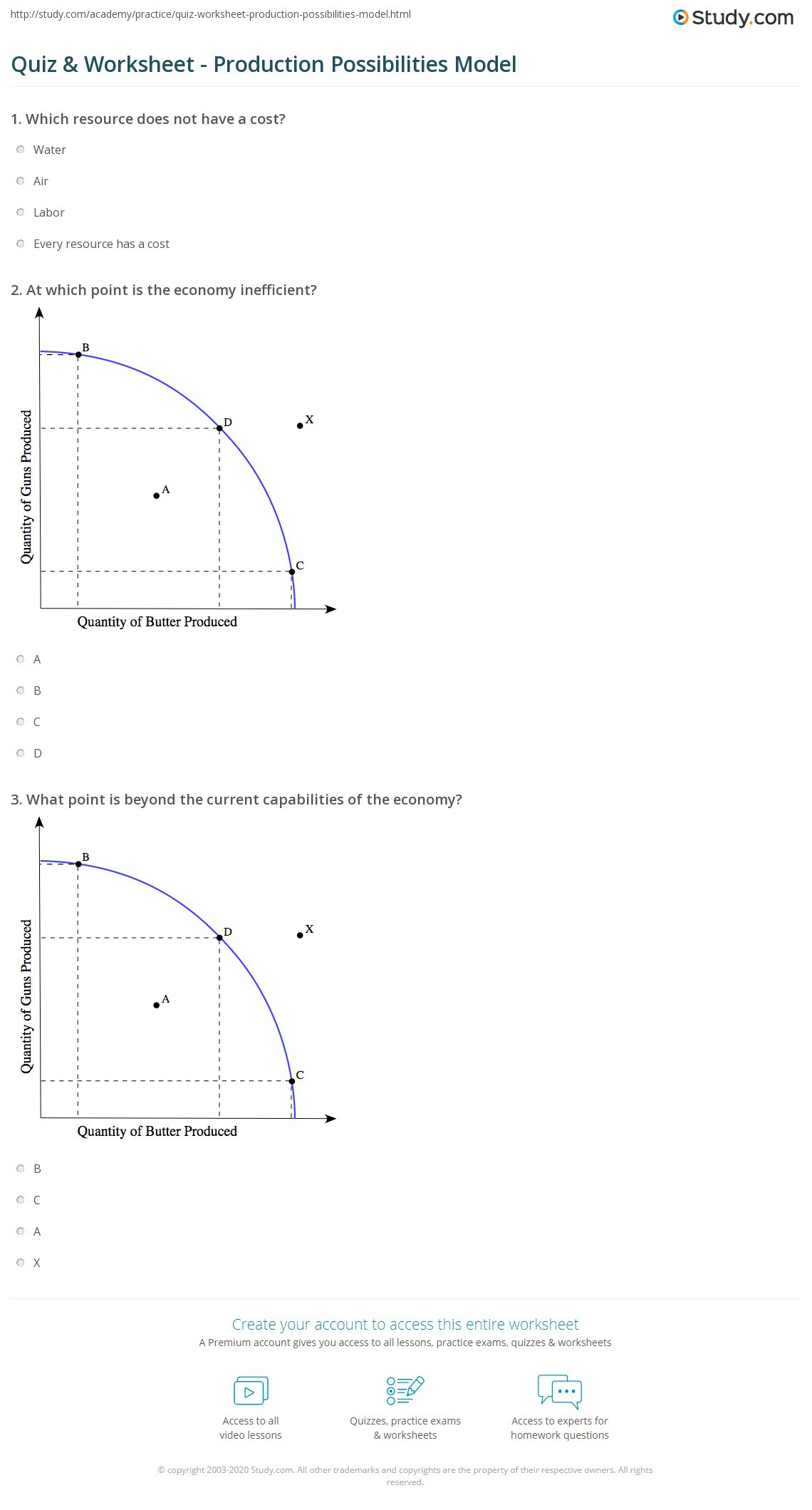 Production Possibilities Curve Worksheet Answers Quiz & Worksheet Production Possibilities Model