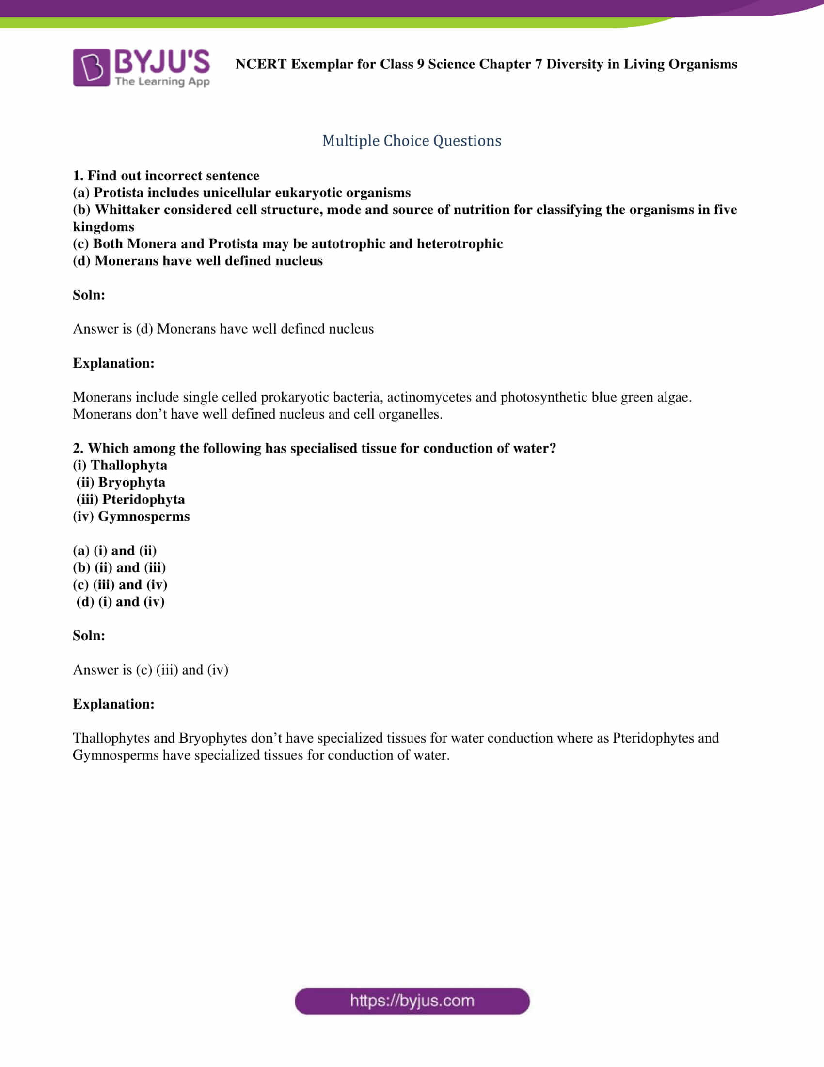 Prokaryotes Bacteria Worksheet Answers Ncert Exemplar Class 9 Science solutions Chapter 7