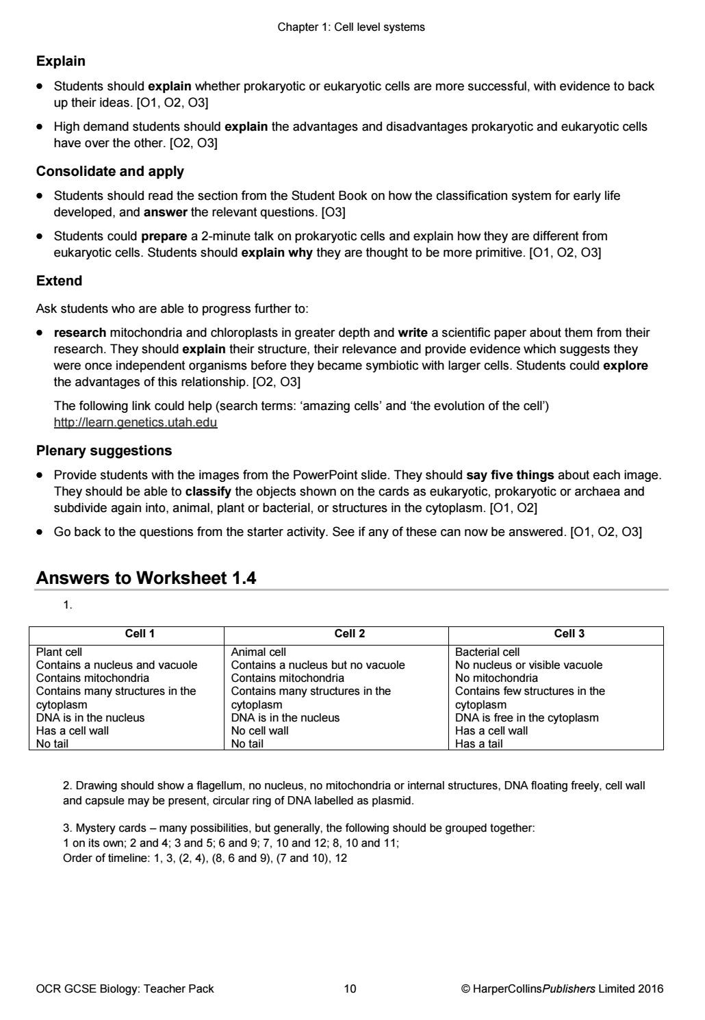 Prokaryotes Bacteria Worksheet Answers Ocr Gcse Biology Teacher Pack by Collins issuu