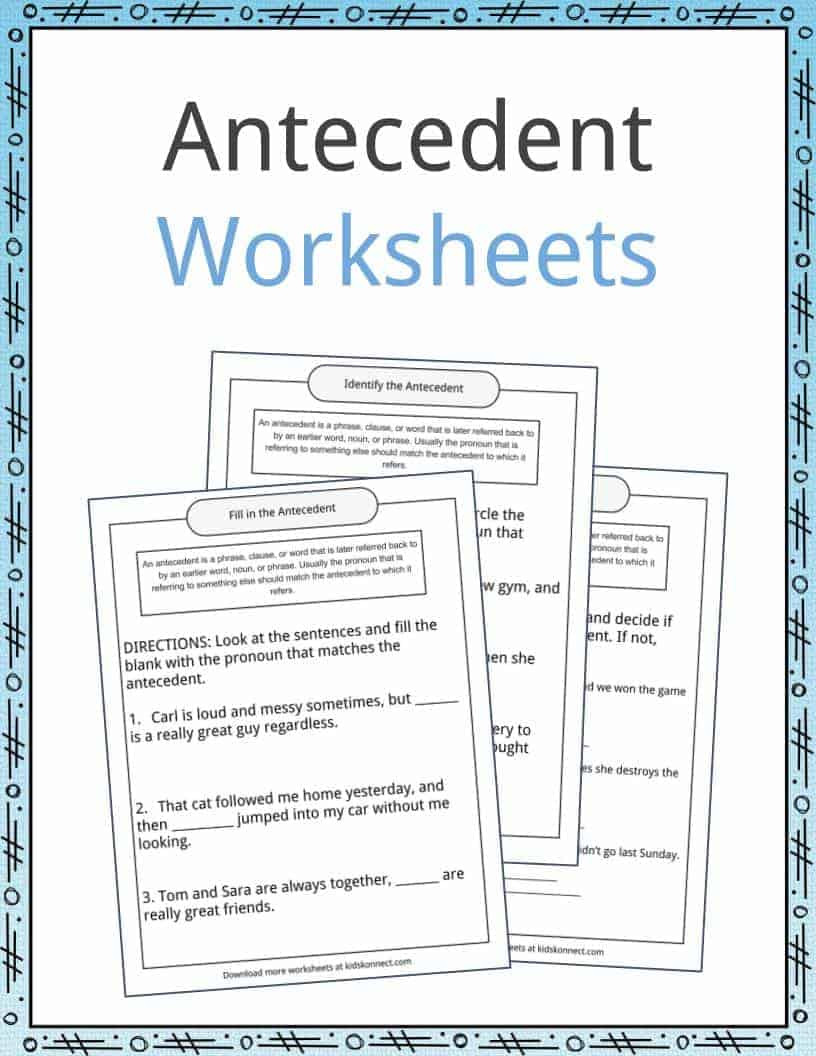Pronoun Antecedent Agreement Worksheet Antecedent Examples Definition and Worksheets