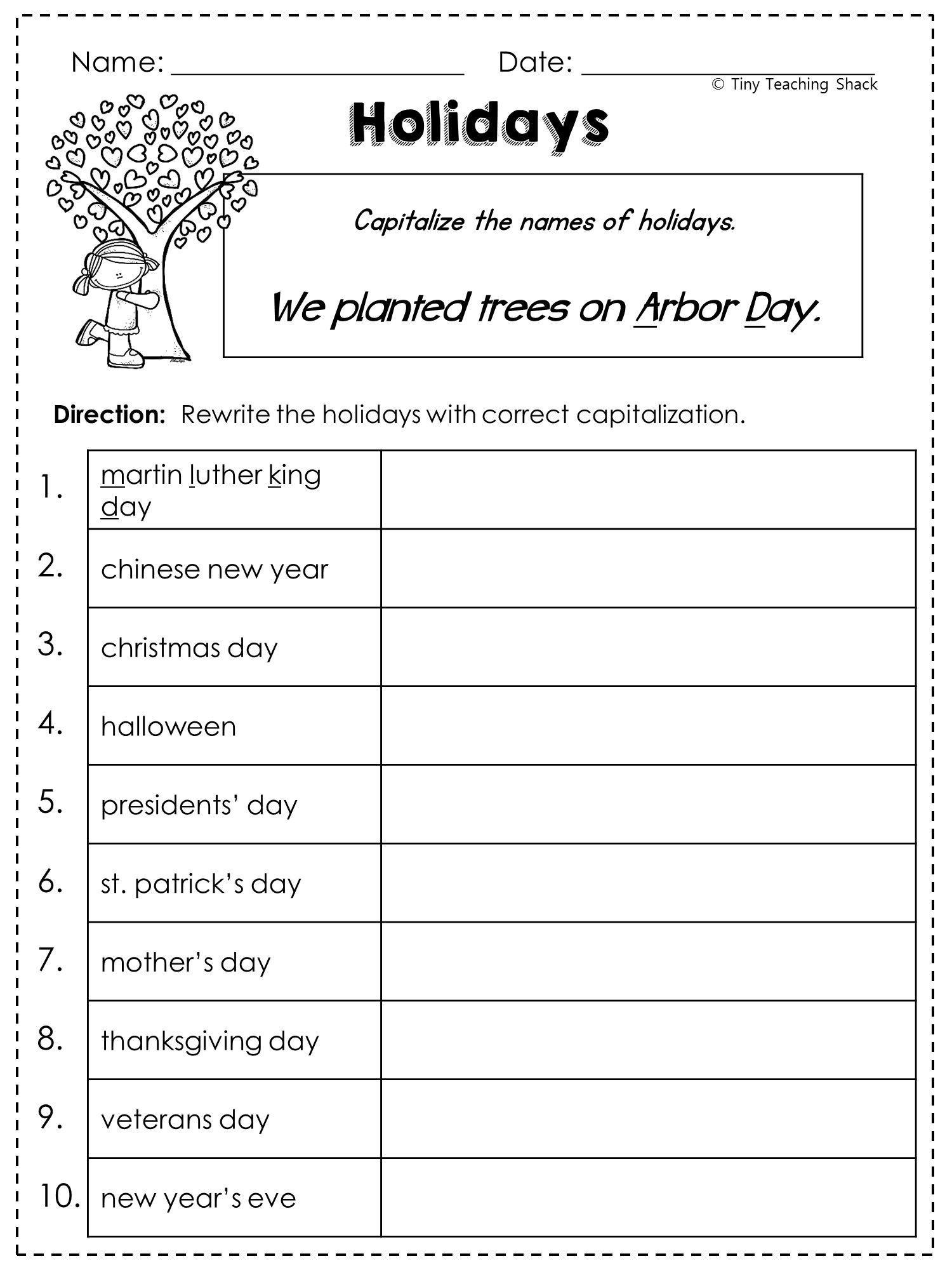 Proper Nouns Worksheet 2nd Grade 5 Worksheet Proper Nouns Worksheet Grammar Worksheets Schools