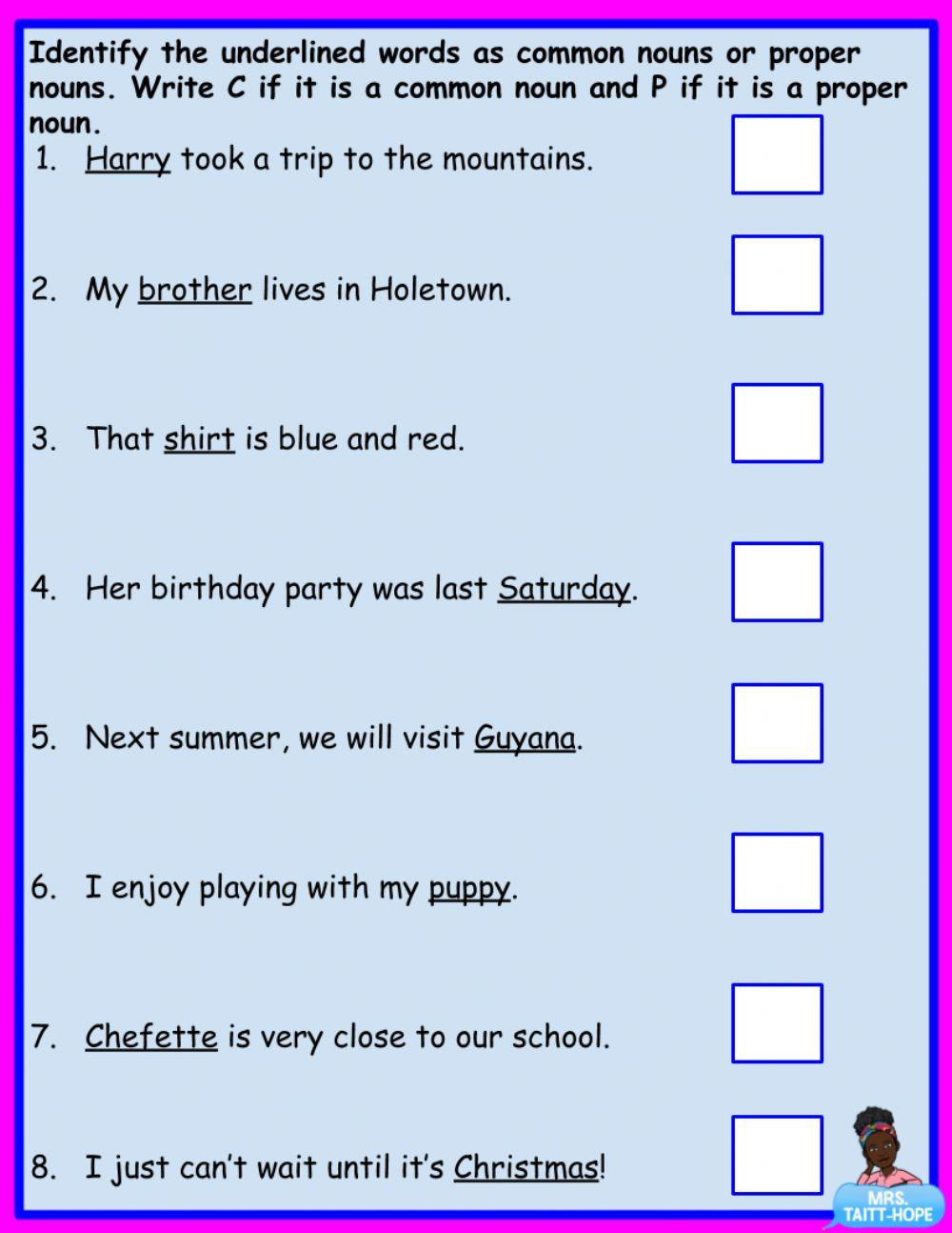 Proper Nouns Worksheet 2nd Grade Distinguishing Mon From Proper Nouns Interactive Worksheet