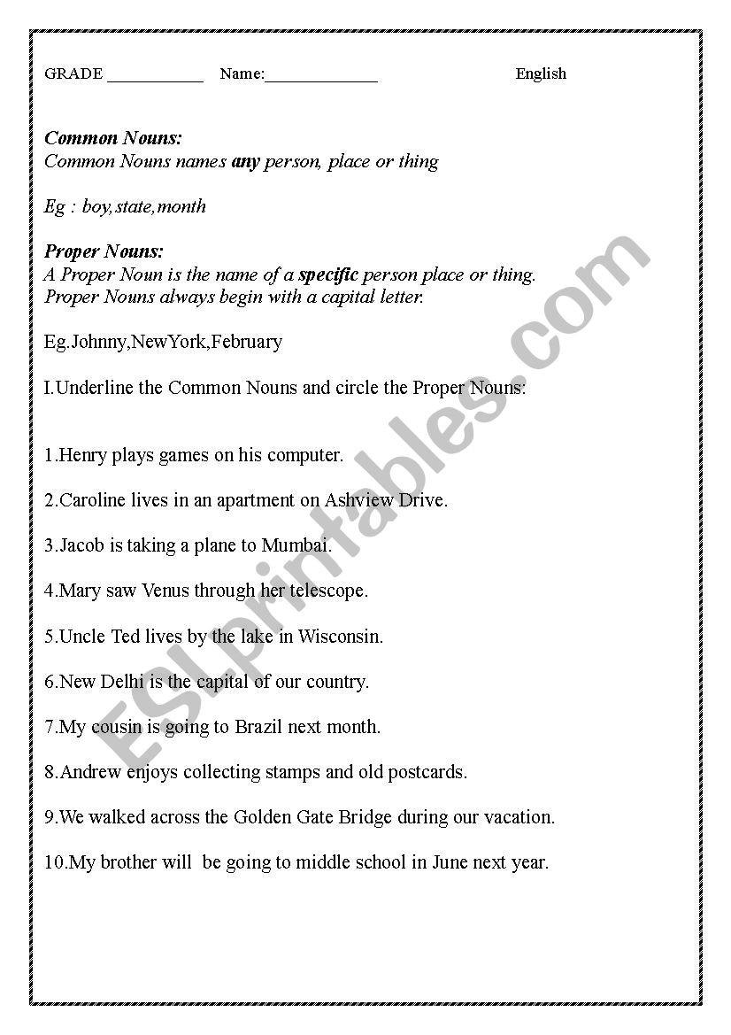 Proper Nouns Worksheet 2nd Grade English Worksheet Mon Proper Nouns and Demonstrative