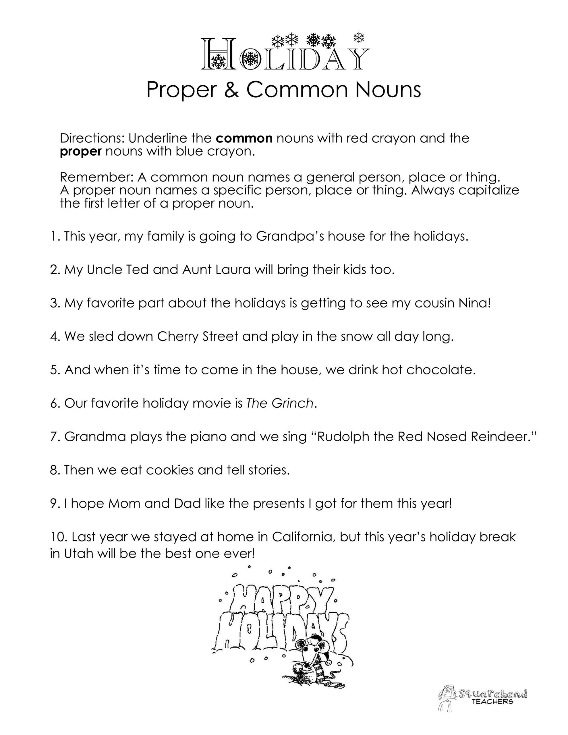 Proper Nouns Worksheet 2nd Grade Mon Vs Proper Nouns Christmas Winter Holidays Worksheet