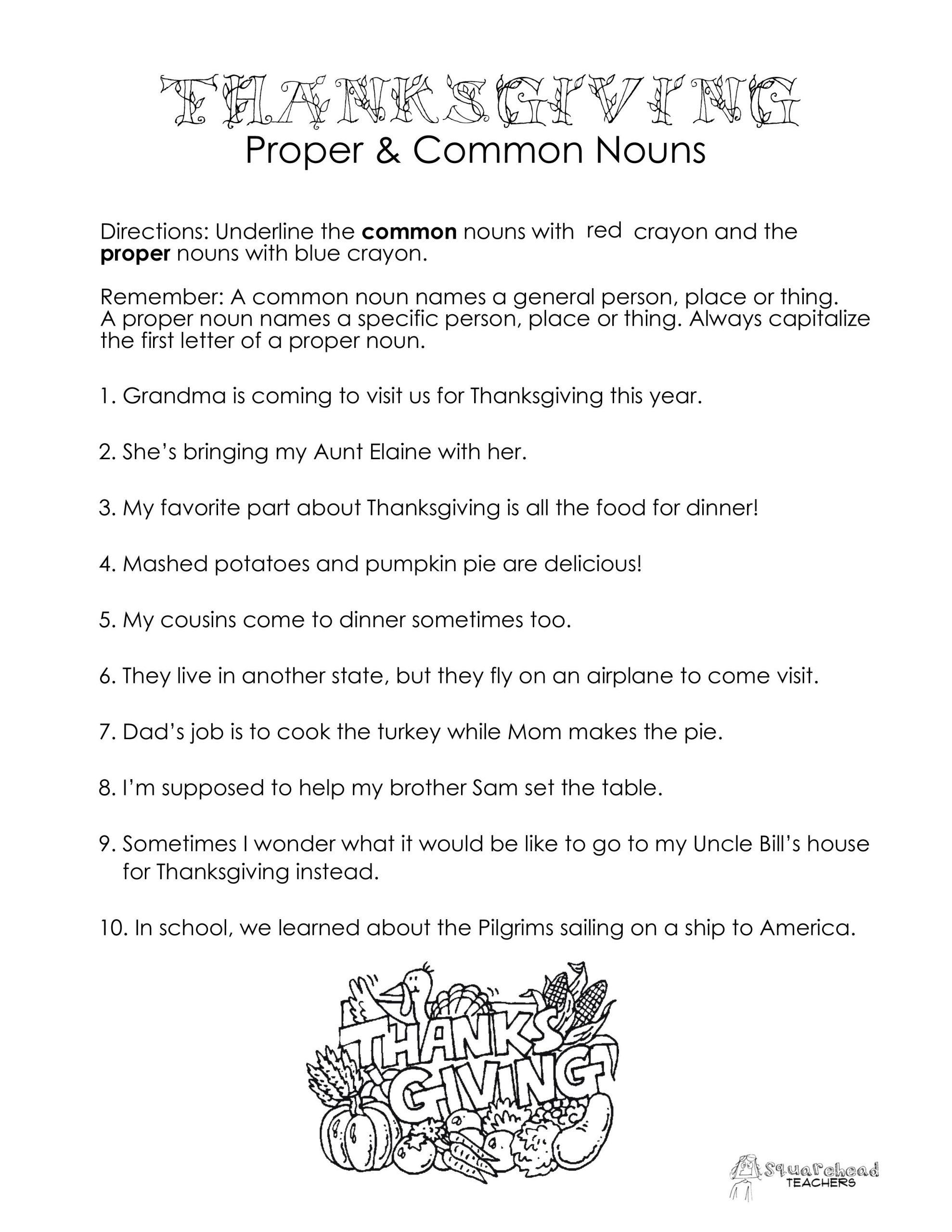Proper Nouns Worksheet 2nd Grade Thanksgiving Mon Vs Proper Nouns Worksheet