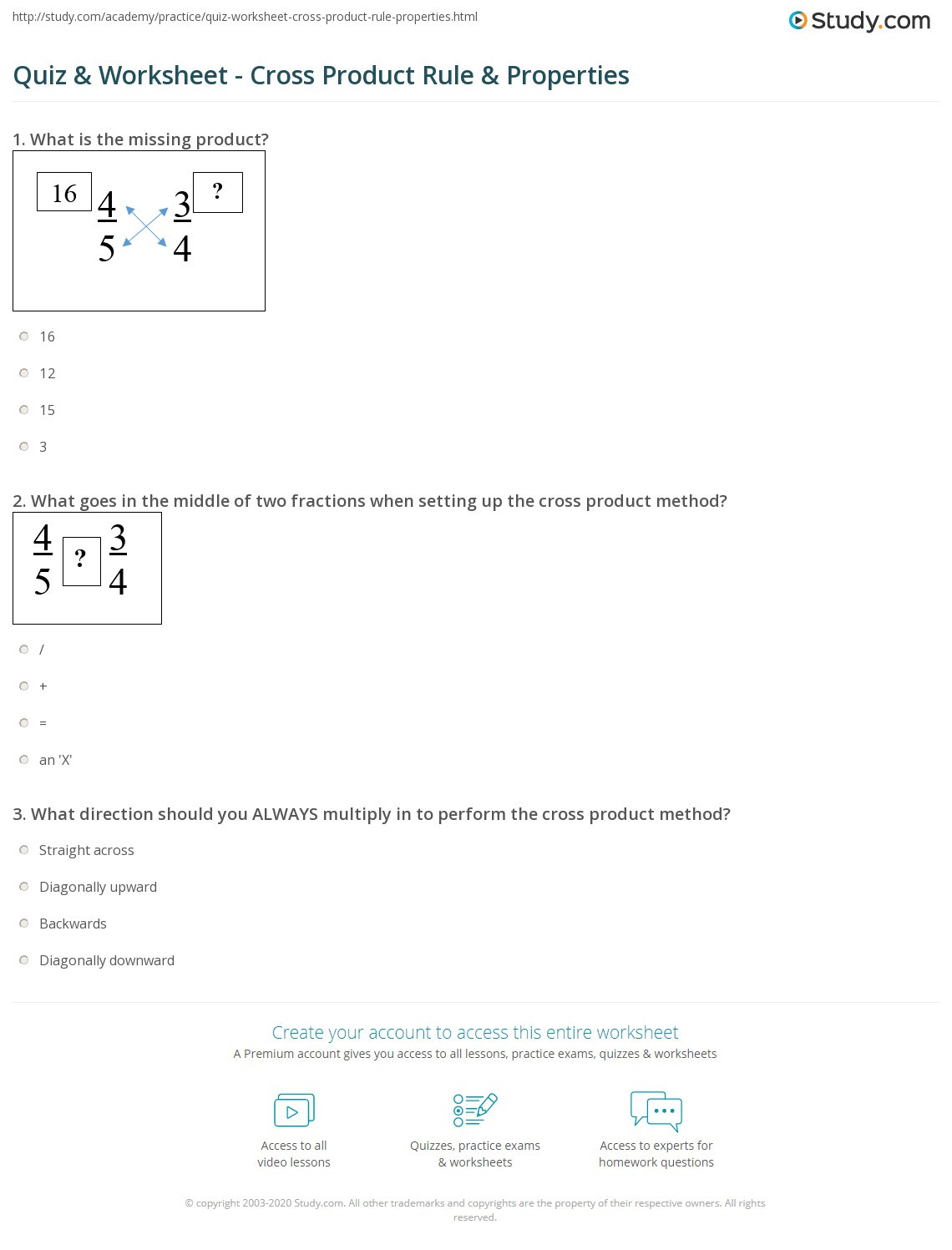 Properties Of Real Numbers Worksheet Quiz & Worksheet Cross Product Rule & Properties