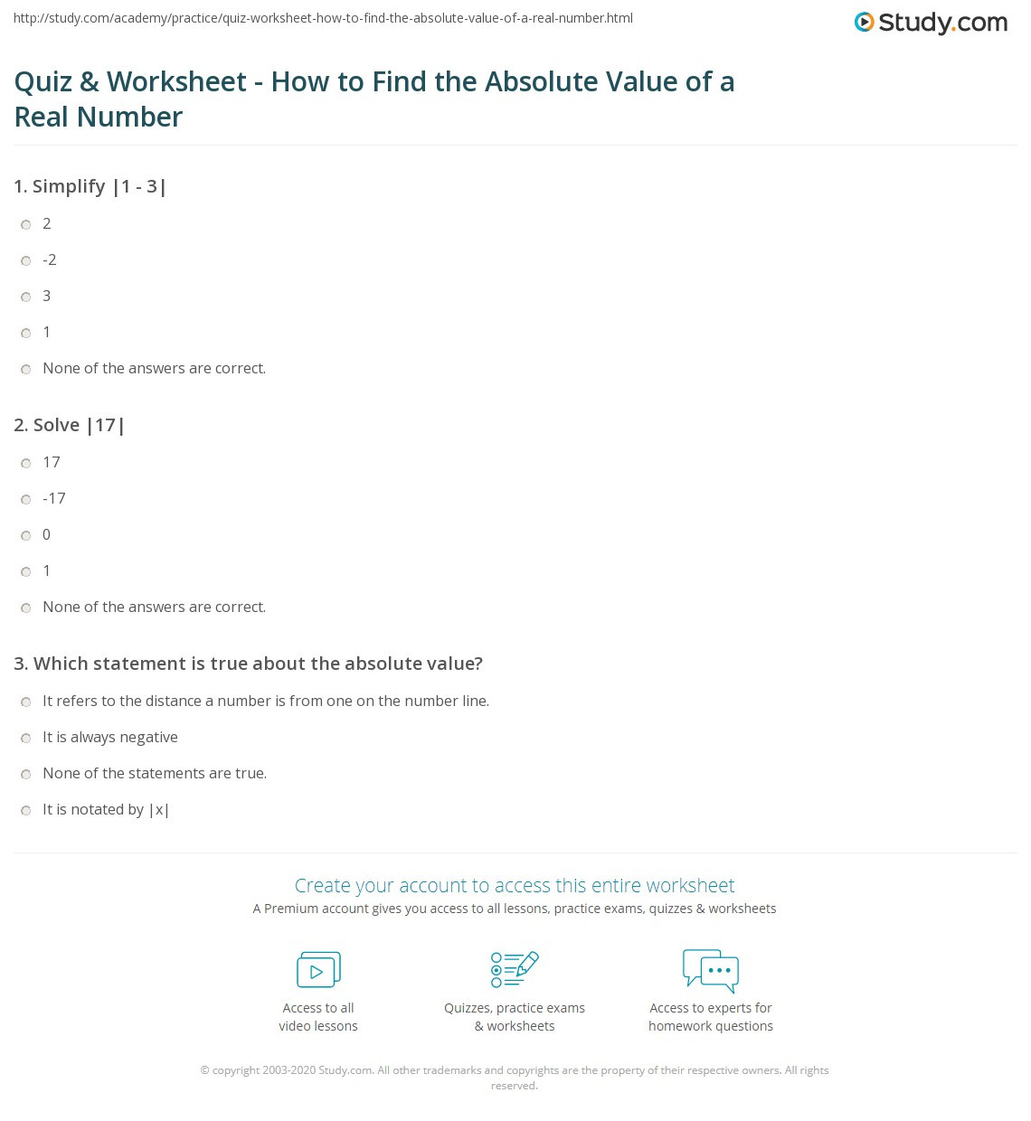 Properties Of Real Numbers Worksheet Quiz & Worksheet How to Find the Absolute Value Of A Real