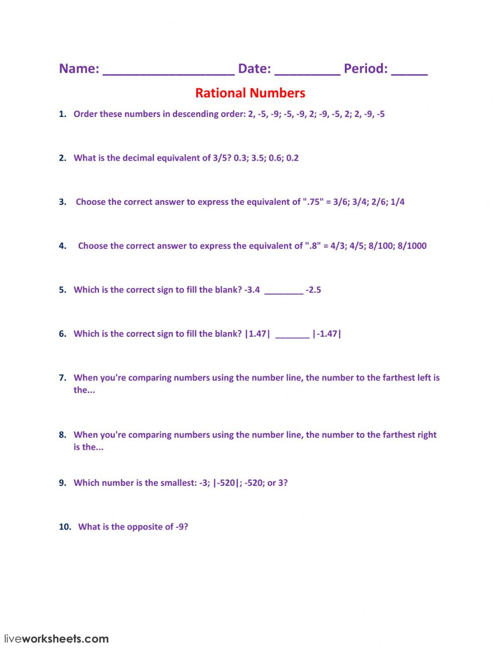 Properties Of Real Numbers Worksheet Rational Numbers Interactive Worksheet