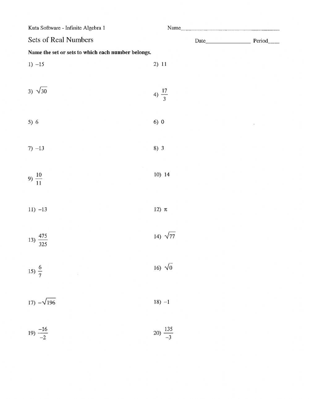 Properties Of Real Numbers Worksheet Real Numbers Practice Interactive Worksheet