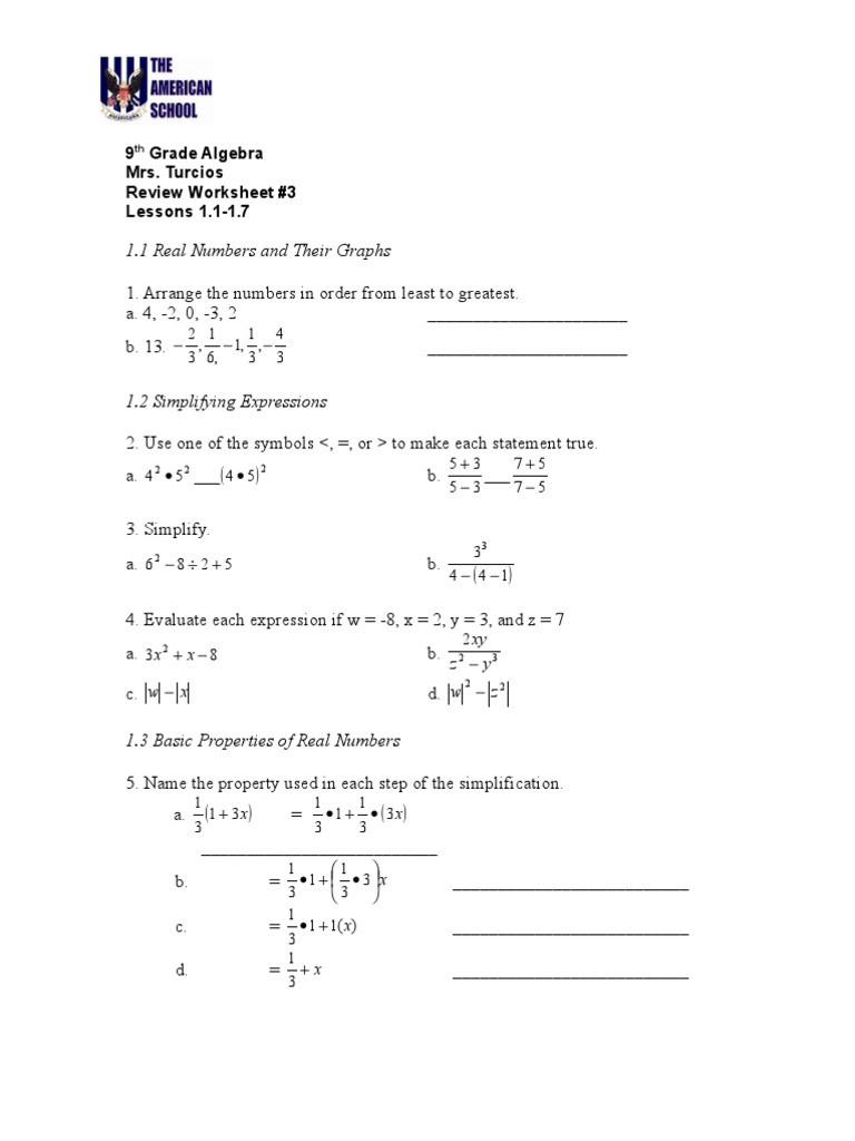 Properties Of Real Numbers Worksheet Worksheet 1 1 1 7 Abstract Algebra