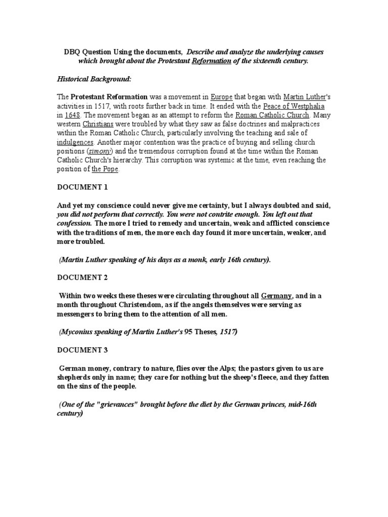 Protestant Reformation Worksheet Answers Ap World the Protestant Reformation Dbq